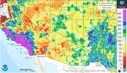 Region monsoon percent normal rainfall